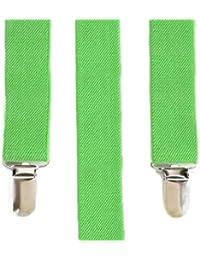 ソリッドネオングリーンElastic Braces Clip on Suspenders