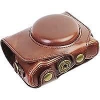 FIRST2SAVVV XJPT-G7XII-10 ダークブラウン Canon PowerShot G7 X Mark II .G7X M2 専用 PU 半分レザー レフ カメラバッグ カメラケース