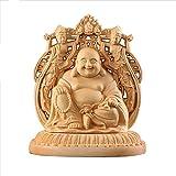 Suicazon [御金品] 高品質 両面彫刻 ツゲの木彫り 仏像 弥勒菩薩 開運 / 厄除け