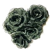 【ELTA】 バラ 造花 花びら 黒 8cm ディスプレイ 展示 お祝い 華やか パーティ 装飾 徳用 50個 セット (50個)