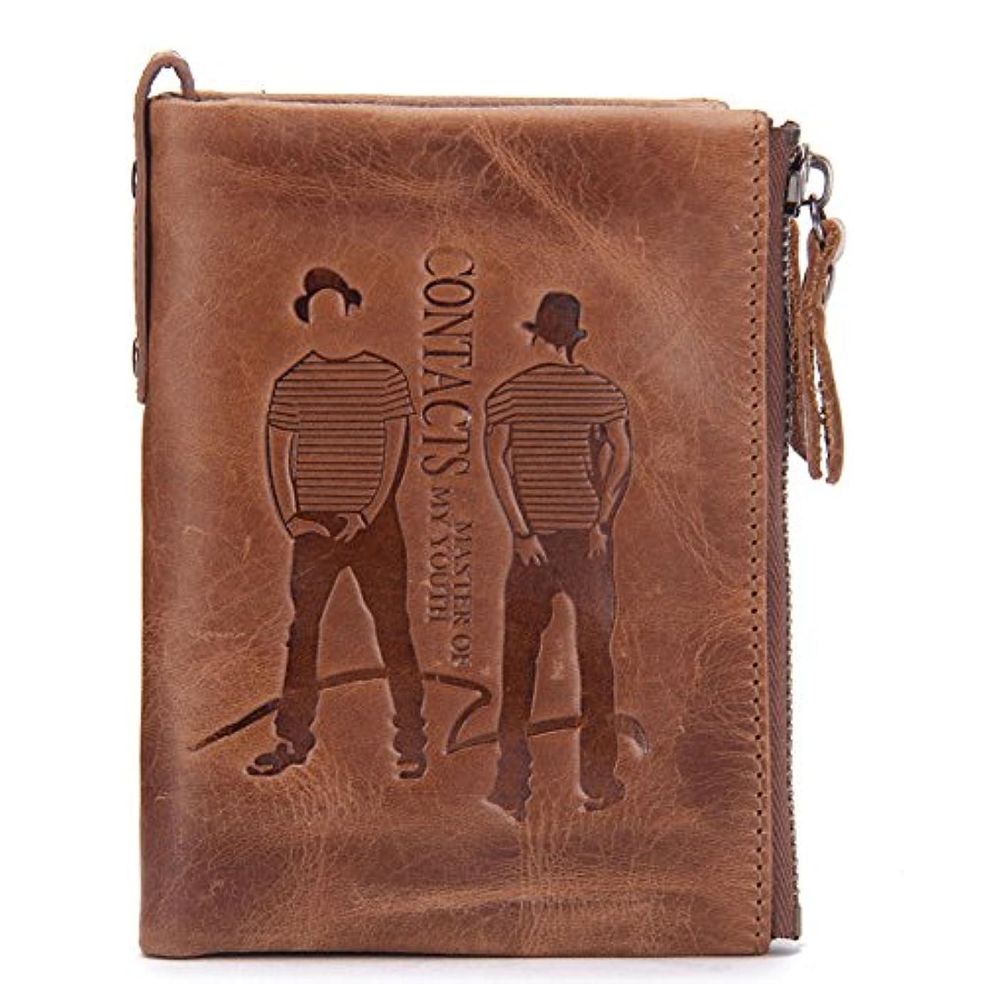 見積り荷物温かいPINJEAS メンズ 本革 財布 二つ折り ファスナー 小銭入れ ブラウン