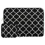 Mosiso ラップトップ ブリーフバッグ 四葉 スタイル キャンバス布地 ケースカバー 13-13.3 インチ MacBook Pro/MacBook Air/ノートパソコン 収納ポーチ付き(ブラック)