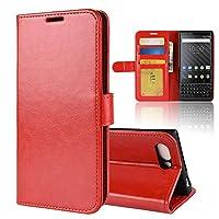Mrstar の BlackBerry KEY2 純正 レザー 財布 シェル カバー, フリップ 立つ, カード スロット, スタイリッシュ, Red