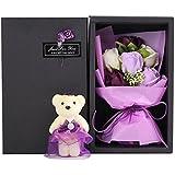 Arbeflo 造花 バラ可愛い熊の人形付け 結婚花束 プレゼント ギフト 贈り物 お誕生日 告白 母の日 結婚祝い 出産祝い (パープル)