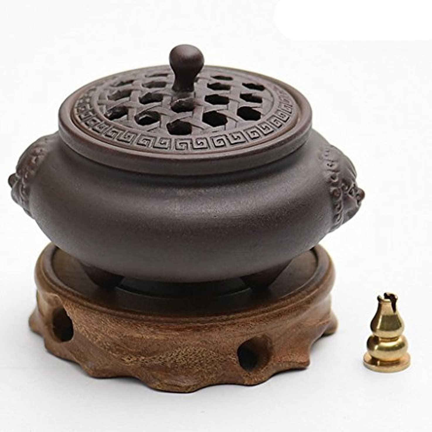 多年生イノセンススポット(ラシューバー) Lasuiveur 香炉 線香立て 香立て 職人さんの手作り 茶道用品 おしゃれ  木製 透かし彫り