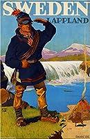 1920年代スウェーデンSweden Lapplandヨーロッパ欧州旅行ホームCollectible壁装飾アートポスター印刷広告。メジャー10x 13.5インチ