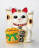 開運縁起 招き猫貯金箱 両手を上げた三毛猫の招き猫 宝当猫 常滑焼き陶器製