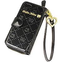 [サンリオ]SANRIO iPhone6ケース ハローキティ Hello kitty iPhone6カバー 手帳型 本革 エナメル モノグラム ポーチ付き HKL4-14 レディース ブラック