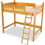 木製 天然木 ベッド ロフトベッド システムベッド はしご すのこ板 セミダブル ライトブラウン