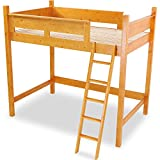 LOWYA (ロウヤ) 木製 天然木 ベッド ロフトベッド システムベッド はしご すのこ板 セミダブル ライトブラウン おしゃれ 新生活