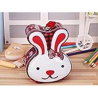 マネー バンク ロングイヤーウサギ貯金箱小説ティンプレート収納ボックス誕生日ギフト(赤と白)