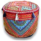Rajasthali Round Patchwork Embroidered Multi Ottoman Pouf Bohemian Indian Decorative, Size 14 X 18 X 18 Inches by Rajasthali [並行輸入品]