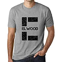 Ultrabasic Men's Graphic T-Shirt Letter E Countries and Cities Elwood Grey Marl
