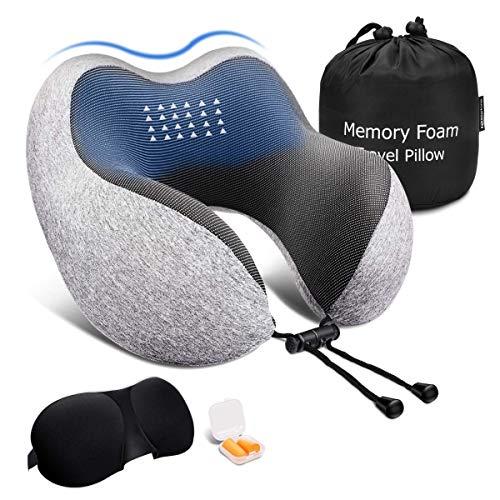 ネックピロー 低反発 Keenstone 飛行機 携帯枕 U型まくら 首枕 旅行用 新幹線 出張 頚椎肩こり改善 洗えるカバー アイマスク 収納袋付「安心メーカー1年保証」
