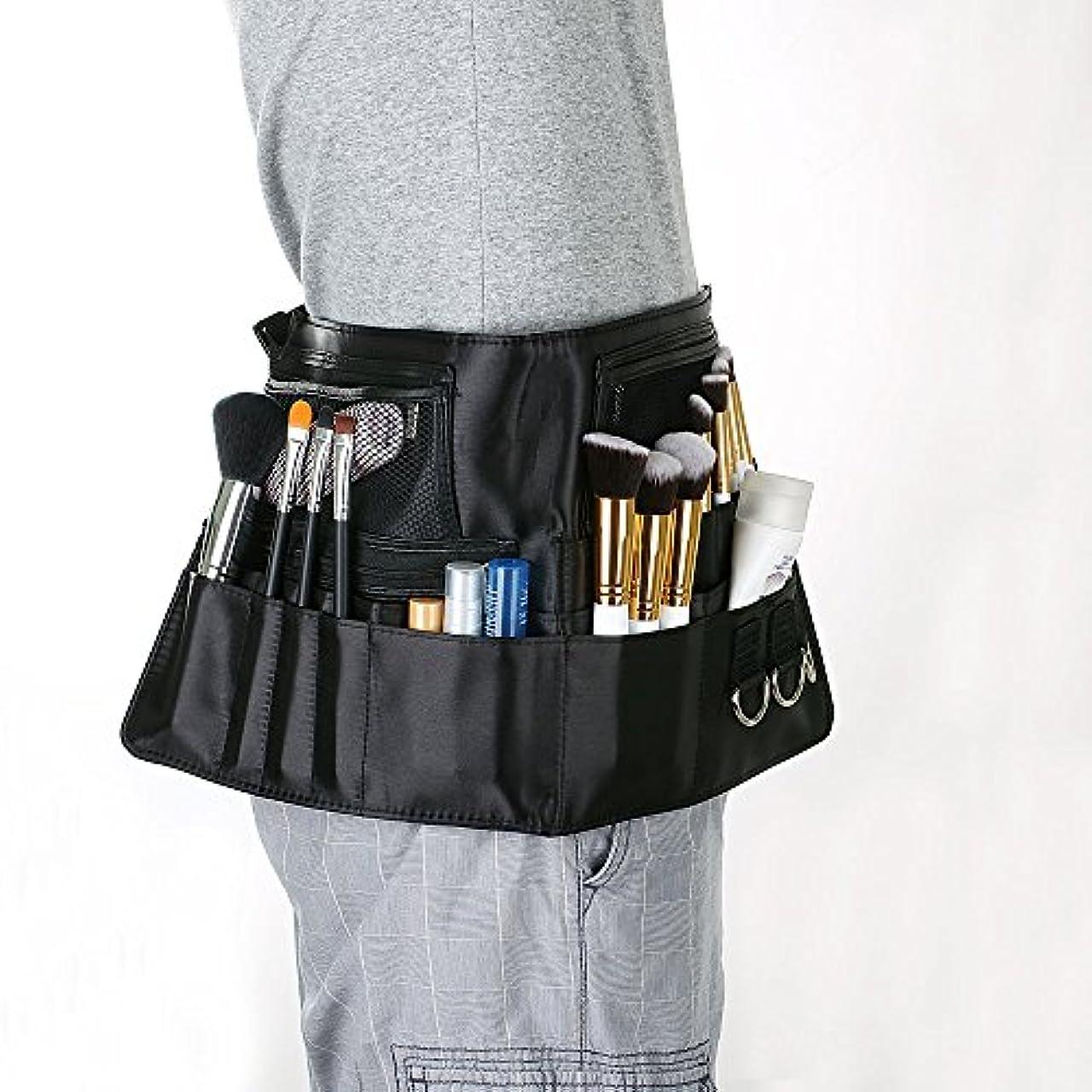 OGORI メイクブラシケース ラージ幅広 化粧師 美容師 プロ用 化粧バッグ 腰巻き ストラップバッグ 多機能 化粧ブラシ収納 ワンタッチ装着