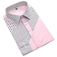 Nicellyer Men Lapel Color Block Polka Dot Novelty Long-Sleeve Lightweight Dress Shirts Pattern1 2XL
