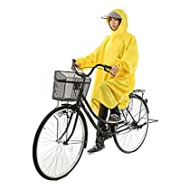 【AMARISE】 レインコート ポンチョ タイプ 袖つき 自転車 レインウェア 男女兼用 イエロー(黄色)フリーサイズ