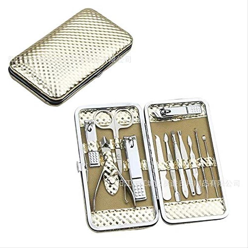 装置子豚結婚する爪切りセット12ステンレス鋼爪切りセット美容マニキュアツール爪切り爪やすり 12セットの地元の金