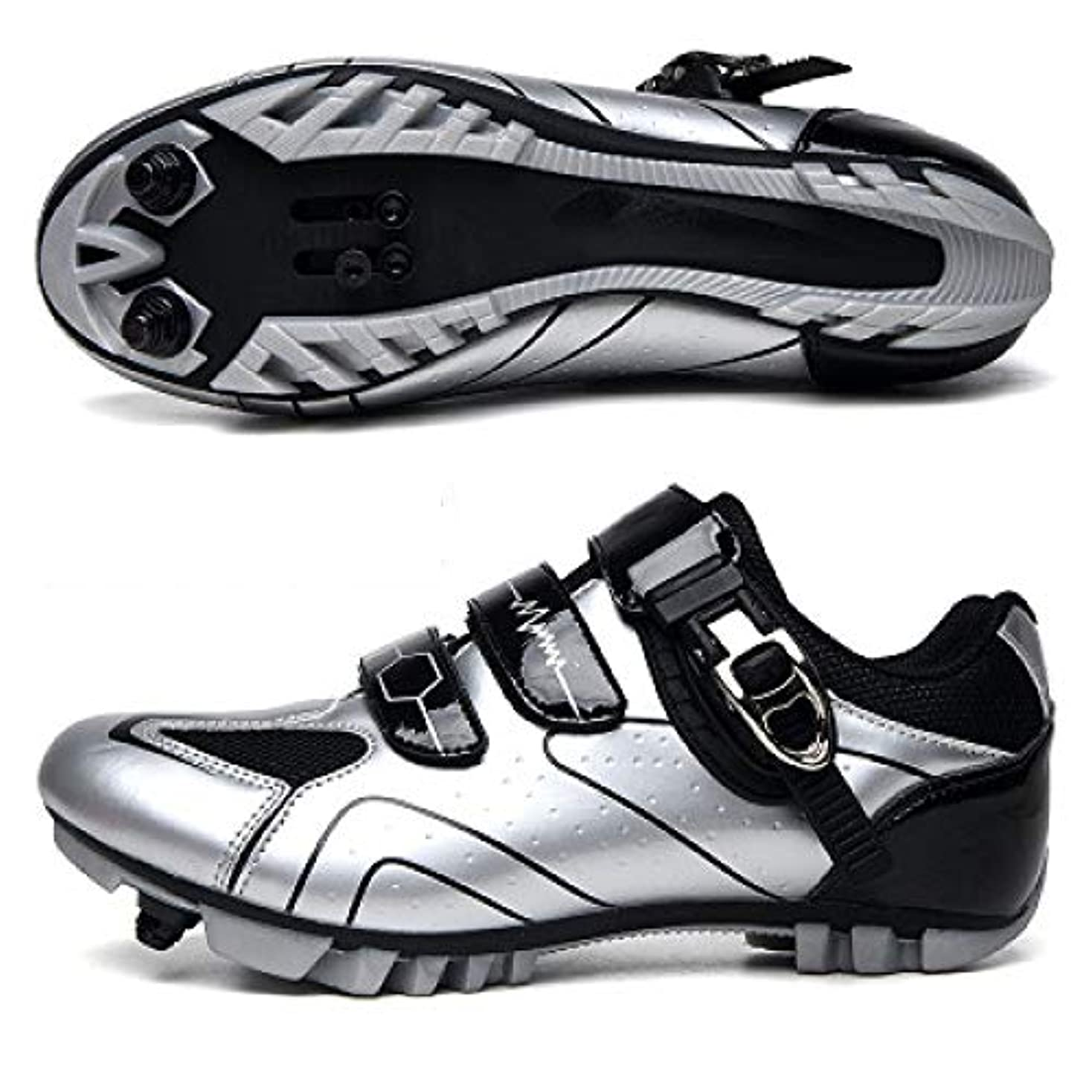 ハーブ花輪マイナー自転車用シューズロードサイクリングシューズメンズロードバイクシューズ超軽量自転車スポーツシューズセルフロックプロフェッショナル通気性,Silver-44EU