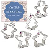 Ann Clark Cookie Cutters Christmas/Holiday Cookie Cutter Set with Recipe Book - 5 Piece - Snowflake, Star, Christmas Tree, Gingerbread Man and Angel - USA Made Steel