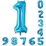 40インチの青の数のヘリウム風船(0-9)アラビア数字の誕生日パーティーデコレーション1