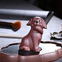 HaiNing Zheng 三つの何犬のペット紫茶は小さな飾りの彫刻動物の犬を見て何を言っていない聞いていません。 (Color : Pouting dog)
