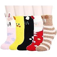 Women Girls Anti-Slip Fluffy Fuzzy Slipper Socks Cute Animals Striped Warm Winter Crew Socks