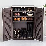 【下駄箱 シューズボックス 省スペース】 通気性が良い木製シューズボックス 60cm幅 「クイッカー」 リビングでも使える扉収納 色:ブラウン