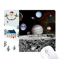 多くの惑星宇宙の暗闇 サンタクロース家屋ゴムのマウスパッド