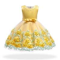 S&T ドレス 子供 キッズ 発表会 結婚式 演奏会 七五三 ワンピース フォーマル 女の子 ジュニア 花柄 かわいい 蝶結び 130 イエロー