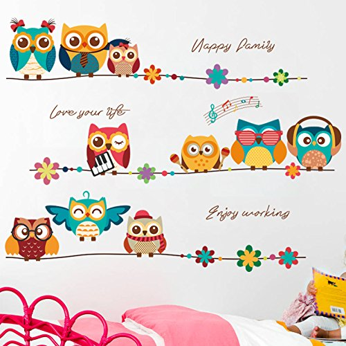 Amaonm Creative Cartoon Animals Owl Wall Decals Removable DIY Owls Family on Tree Branches Wall Stickers Peel Stick Art Decor for Kids Bedroom Baby Girls Boys Nursery Bathroom Living Room Decoration