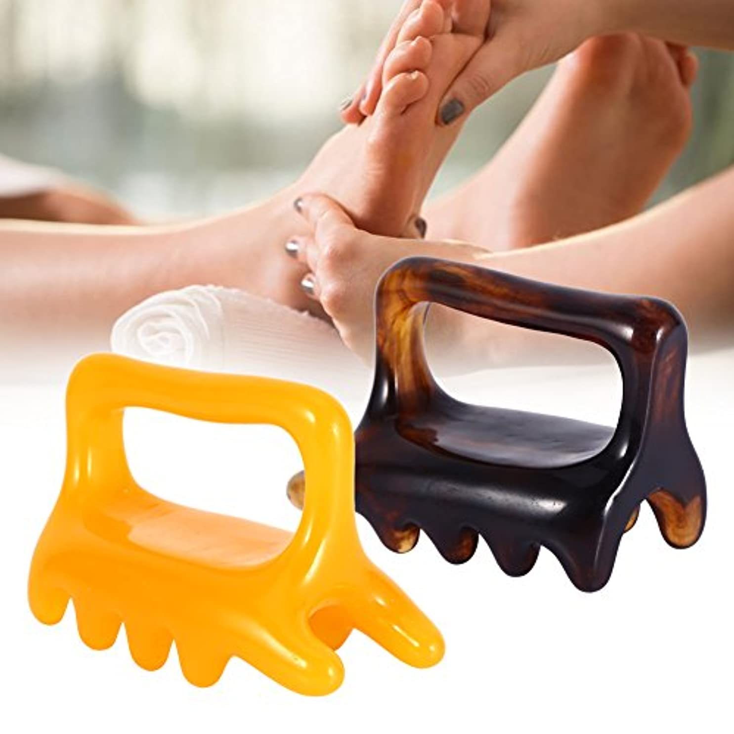 交じるセメント興奮する1pc Face/Body Massage resin Gua Sha acupress toolオカリナ型 カッサ ツボ押し蜜蝋 マッサジ棒 (brown)