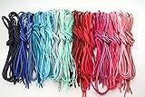 革紐 皮紐 かわひも スエード レザークラフト アクセサリー ネックレス ブレスレット チャーム チョーカー バングル ミサンガ 手作り オリジナル (ピンク/ブルー系20色60本)