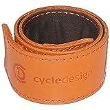 cycledesign(サイクルデザイン) 自転車 スソバンド セーフティレッグレザーバンド オレンジ 39.5×4CM ヒット&ロール式 159507