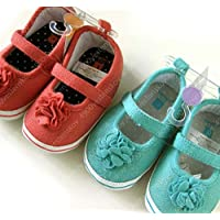 Pick 1 Color Carter's Soft-Sole Rosette Flower Pink or Turquoise Bay Girl Shoe