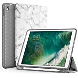 iPad Pro 10.5 Case with Pencil Holder, Swees Slim Full Body Protective Smart Cover Leather Case Rugged Shockproof with Stand Built-in Apple Pencil Holder for iPad Pro 10.5 inch, Marble