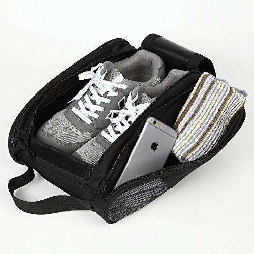 【安心の1ヶ月保障】 持ち運びに便利な高機能シューズバッグ 両サイド小物入れ付き靴入れ ダブルジッパー式 旅行 出張 ジム用 プレゼント ギフト (ブラック)