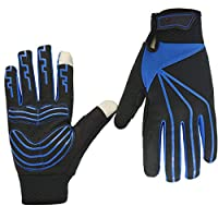 C-Xka タッチスクリーンサイクリンググローブフルフィンガーグローブアウトドア防水ライディンググローブアンチスキッドジェルパッドライディングワークグローブ男性と女性のための (色 : 青, サイズ さいず : XL)