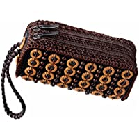 Baosity Retro Woven Beads Ethnic Long Handbag Zip Around Clutch Bags Wristlet Brown