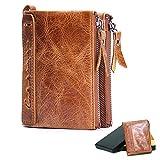 財布 レザー,メンズ 財布 二つ折り 本革 柔らかい La Ventus, コインケース 免許証入れ カード入れ7ヶ所 丈夫 高級感 (ブラウン)