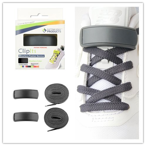 clipits 。No Tie Shoelacesシステムwith clipitslaces – OneサイズFitsすべての靴 グレー