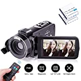 Kenuo ビデオカメラ デジタルビデオカメラ 2400万画素 赤外線ナイトビジョン リモコン付属 バッテリー*2 (リモコン式)