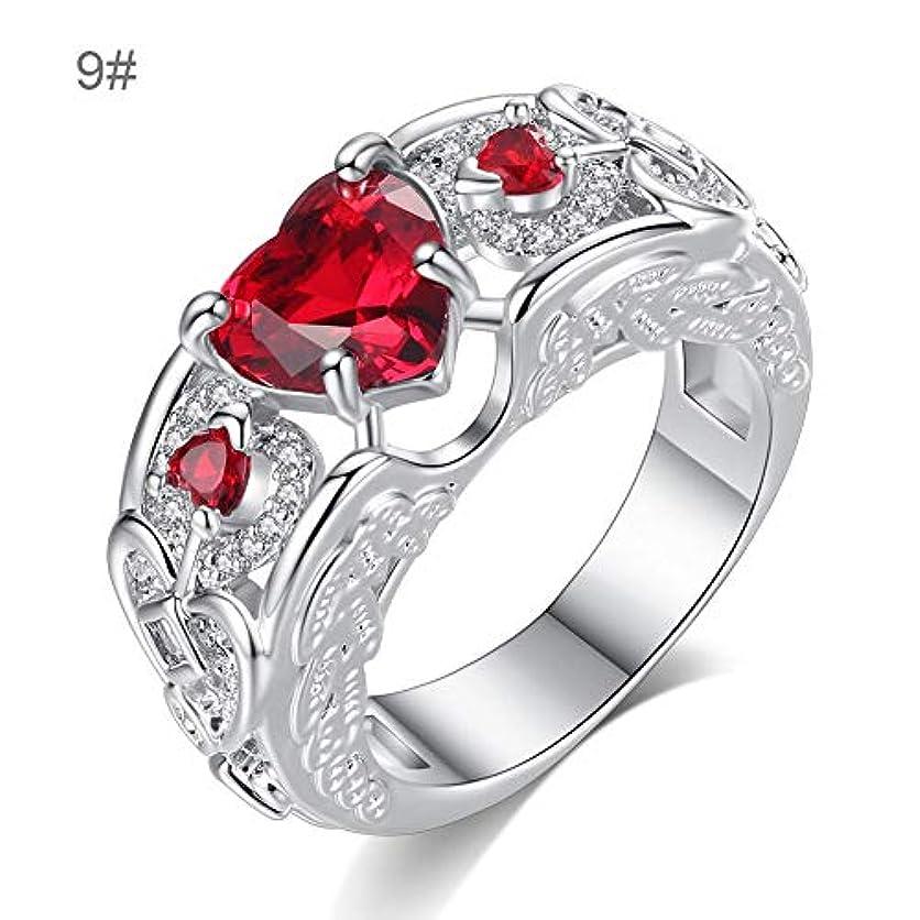 安西スラッシュ緊張ジルコンラインストーン付きジュエリーレディースリング ヨーロッパとアメリカのプリンセスリング ハート型ルビーの婚約指輪レディースハンドジュエリー