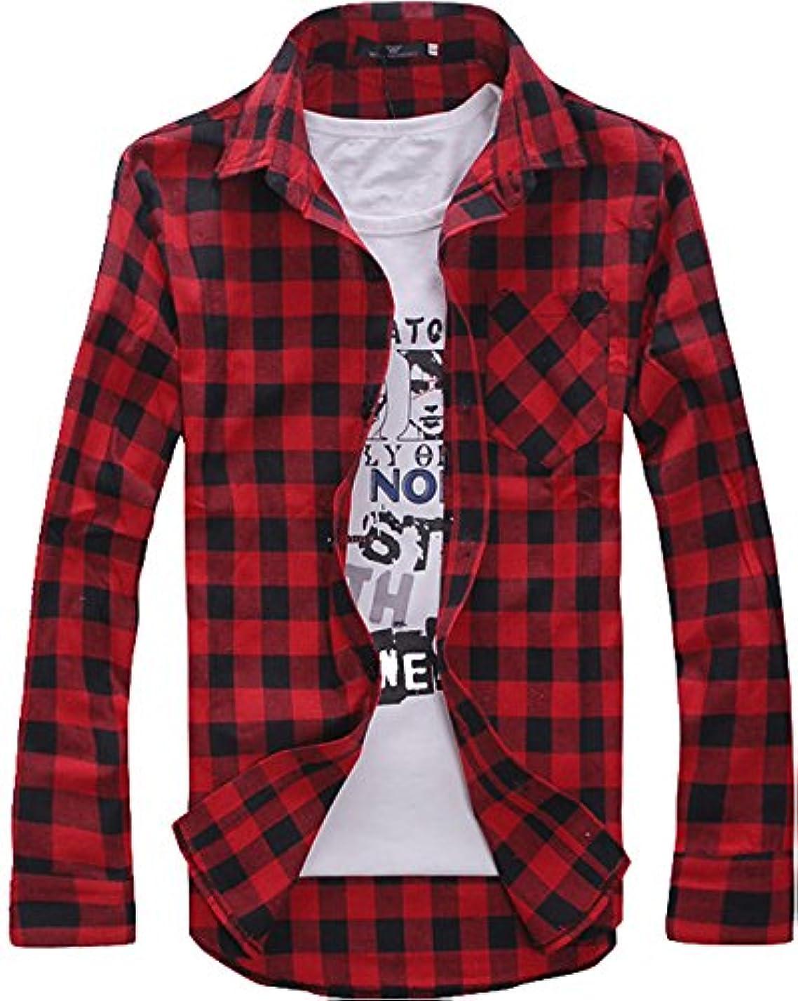 難民ひも作る(ファロ) FALO ブロック チェック ネルシャツ メンズ カジュアル Lサイズ 1. レッド cms-0002-l-red1
