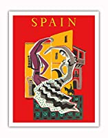 スペイン - フラメンコダンサー - ビンテージな世界旅行のポスター によって作成された ベルナール・ヴィユモ c.1957 - アートポスター - 28cm x 36cm