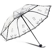 ABELSON 透明な傘 折り畳み傘 手動開閉 ビニール 梅雨対策 8本骨 大きい 耐風撥水 おしゃれ メンズ レディース 軽量 傘ケース 携帯便利