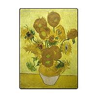 GORIRA(ゴリラ) ゴッホ 世界名画 Sunflowers 1890 心地よいサラふわ触感 ラグ カーペット 丸洗い 折り畳み可能 滑り止め付き 抗菌防臭 軽量 絨毯 ホットカーペット対応 約160x122cm