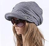 レディース キャスケット帽 綿100% (ブルー)