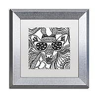 商標FineアートキリンCool by Hello Angelホワイトマットシルバーフレームアートワーク 11x11 ALI2824-S1111MF