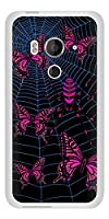 au HTC J butterfly HTV31 TPU ソフトケース AG831 蜘蛛の巣に舞う蝶(赤) 素材ホワイト